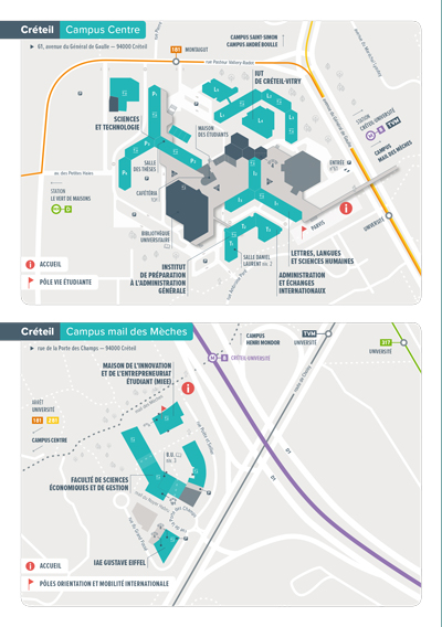 JPO - Plan d'accès - Campus centre et mail des Mèches