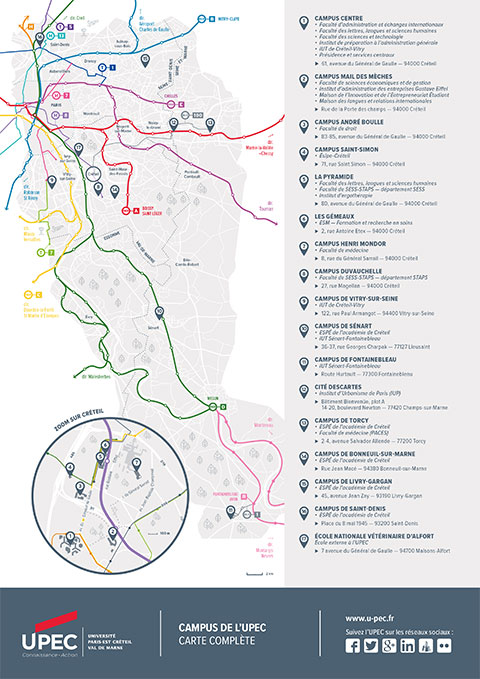 Plan d'accès aux sites UPEC en Ile de France